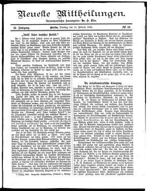 Neueste Mittheilungen vom 12.02.1884