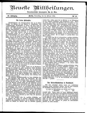 Neueste Mittheilungen vom 14.02.1884