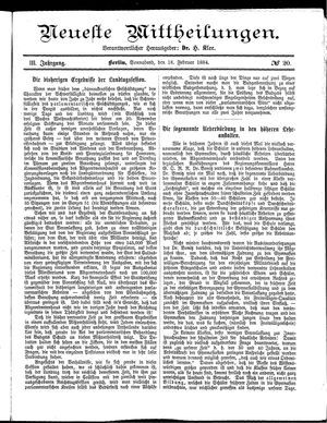 Neueste Mittheilungen vom 16.02.1884