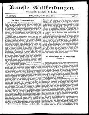 Neueste Mittheilungen vom 19.02.1884