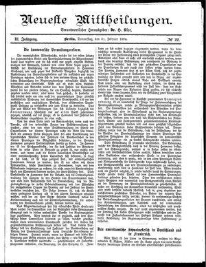 Neueste Mittheilungen vom 21.02.1884