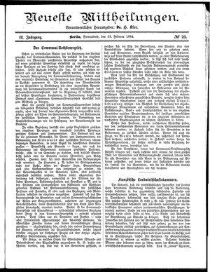 Neueste Mittheilungen vom 23.02.1884