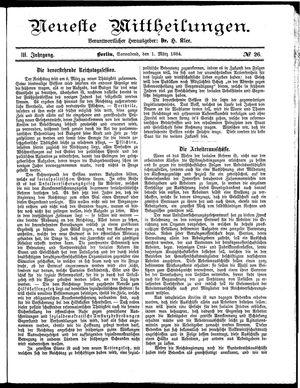 Neueste Mittheilungen vom 01.03.1884