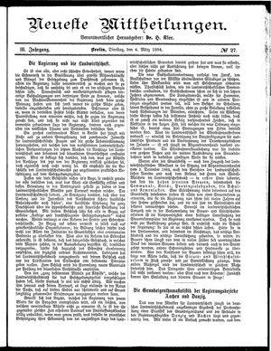 Neueste Mittheilungen vom 04.03.1884