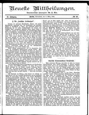 Neueste Mittheilungen vom 08.03.1884