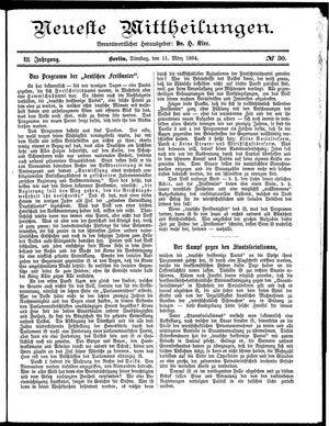 Neueste Mittheilungen vom 11.03.1884