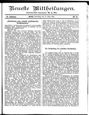 Neueste Mittheilungen on Mar 13, 1884