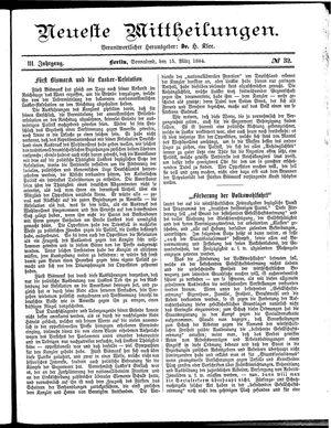 Neueste Mittheilungen vom 15.03.1884