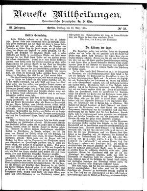 Neueste Mittheilungen vom 18.03.1884