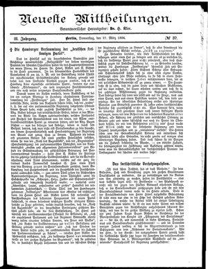Neueste Mittheilungen vom 27.03.1884