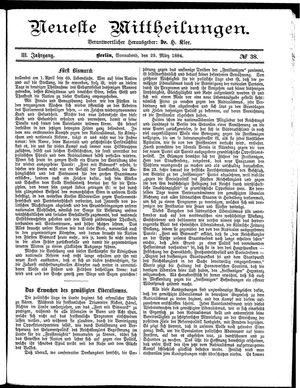 Neueste Mittheilungen vom 29.03.1884