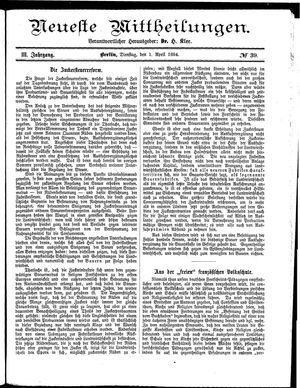 Neueste Mittheilungen vom 01.04.1884