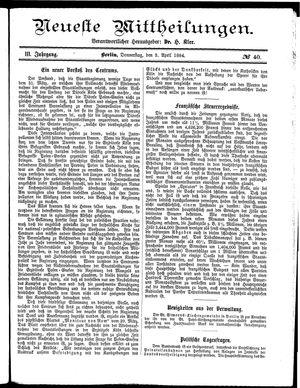 Neueste Mittheilungen vom 03.04.1884
