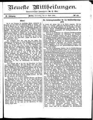 Neueste Mittheilungen vom 10.04.1884