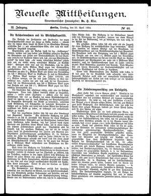 Neueste Mittheilungen vom 22.04.1884