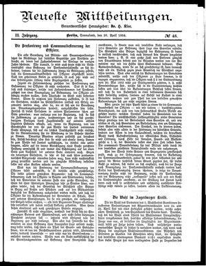Neueste Mittheilungen vom 26.04.1884