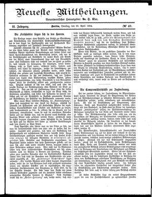 Neueste Mittheilungen vom 29.04.1884