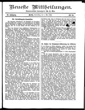 Neueste Mittheilungen vom 01.05.1884