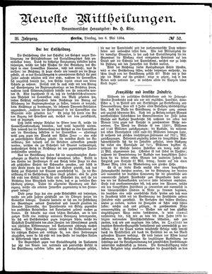 Neueste Mittheilungen vom 06.05.1884