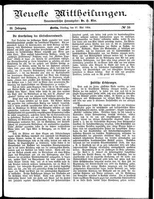 Neueste Mittheilungen vom 27.05.1884