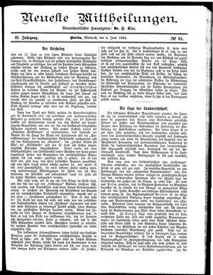 Neueste Mittheilungen vom 04.06.1884