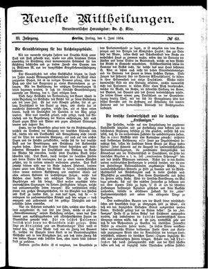 Neueste Mittheilungen vom 06.06.1884
