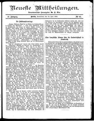 Neueste Mittheilungen vom 14.06.1884