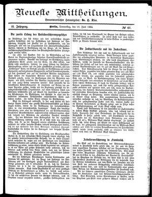 Neueste Mittheilungen vom 19.06.1884