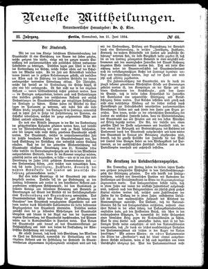 Neueste Mittheilungen vom 21.06.1884