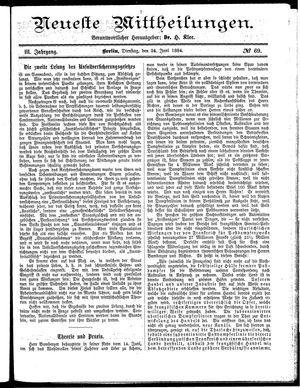 Neueste Mittheilungen vom 24.06.1884