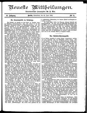 Neueste Mittheilungen vom 28.06.1884