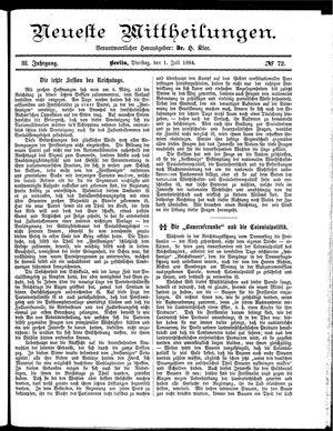 Neueste Mittheilungen vom 01.07.1884
