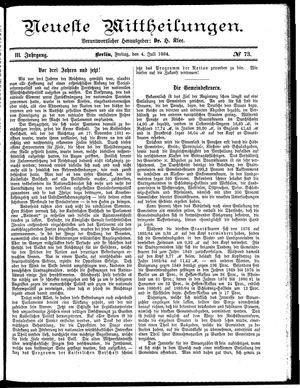 Neueste Mittheilungen vom 04.07.1884