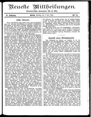 Neueste Mittheilungen vom 08.07.1884