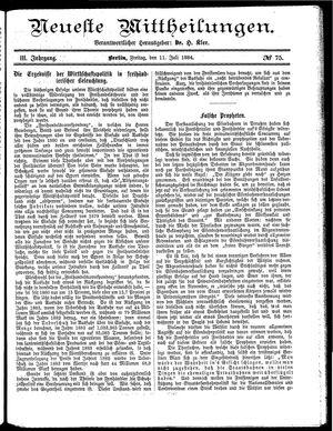 Neueste Mittheilungen vom 11.07.1884