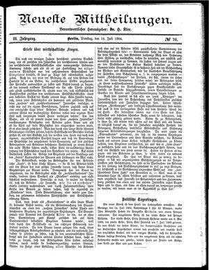 Neueste Mittheilungen vom 15.07.1884