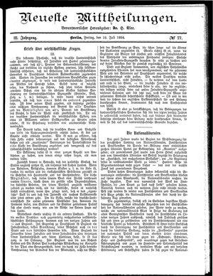 Neueste Mittheilungen vom 18.07.1884