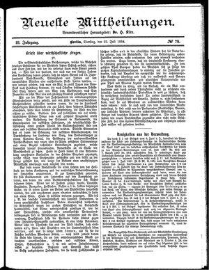 Neueste Mittheilungen vom 22.07.1884