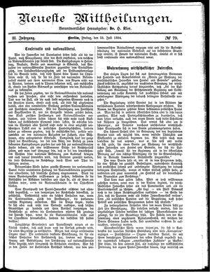 Neueste Mittheilungen vom 25.07.1884