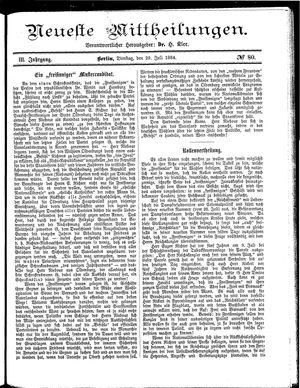 Neueste Mittheilungen vom 29.07.1884