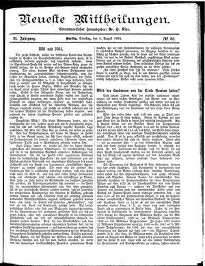 Neueste Mittheilungen vom 05.08.1884