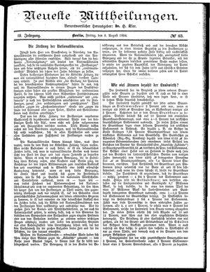 Neueste Mittheilungen vom 08.08.1884