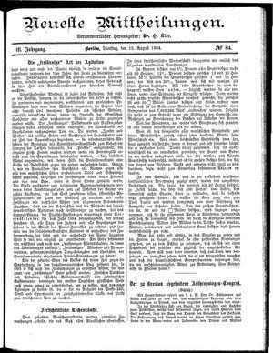 Neueste Mittheilungen vom 12.08.1884