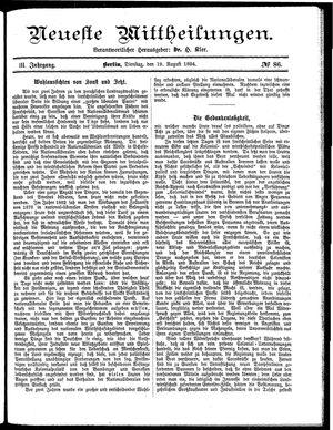 Neueste Mittheilungen vom 19.08.1884