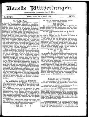Neueste Mittheilungen vom 22.08.1884
