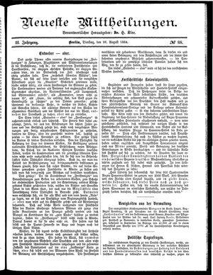 Neueste Mittheilungen vom 26.08.1884