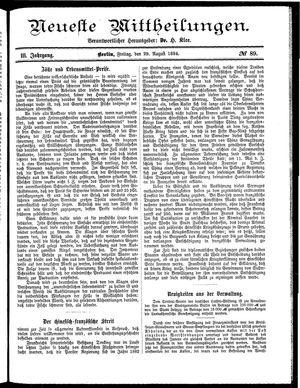 Neueste Mittheilungen vom 29.08.1884