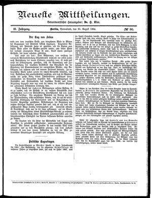 Neueste Mittheilungen vom 30.08.1884