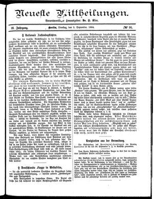 Neueste Mittheilungen vom 02.09.1884