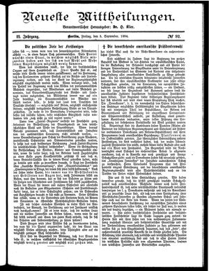 Neueste Mittheilungen vom 05.09.1884